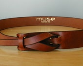 Cognac Leather MUSE Belt  width 1 1/4 inches FREE SHIPPING