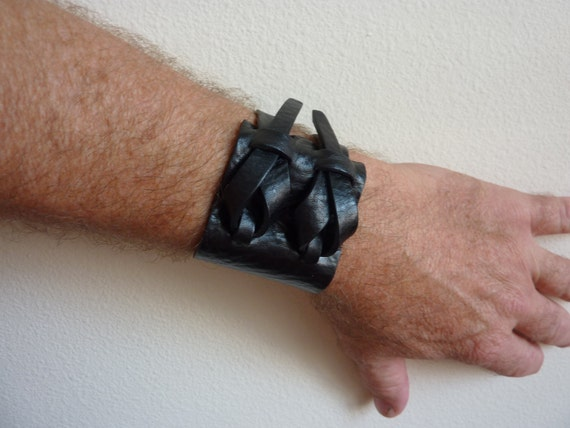 Double Cuff in Black by Muse 2 inches One Dollar Shipping
