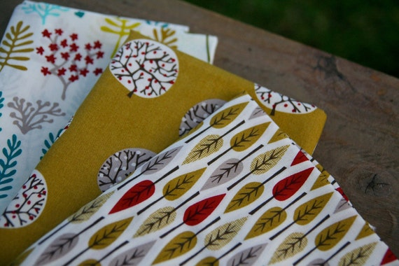 Studio Sale  - Cloud9 Nature Walk 1/4 yard  - fat quarter bundle - set of 3 prints - honey - organic cotton -  LAST ONE