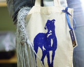 Lurcher dog screenprinted mini cotton tote bag