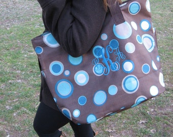 Personalized brown and aqua blue roomy oversized fun tote with 3 large pockets also in Pink