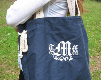 Personalized roomy cotton slouch shoulder tote - choice of colors