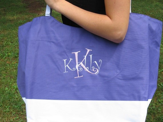 Extra large personalized canvas beach tote bag - only yellow left