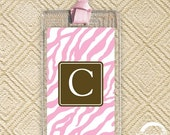 Set of 2 Luggage Tags - Pink Zebra - Personalized Luggage Tags - Bag Tag - Bridesmaids Gifts - Bachelorette - Favors- Monogrammed