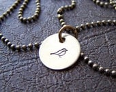 Tiny Brass Birdie- Brass Necklace- Hand Stamped