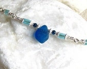 Turquoise Sea Glass Necklace - Rare Deep Blue English Seaglass - Sterling Silver - Bar Necklace - Modern Coastal Beach Style