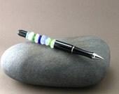 Sea Glass Guest Book Pen - Cobalt, Cornflower Blue, Spring Green and White Seaglass - Ballpoint Pen in Black - Beach Bride Groom Gift