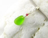 Green Sea Glass Charm Clip Dangle - Key Lime Seaglass - fits Pandora European Style Bracelets - Sterling Silver - Summer Beach Style