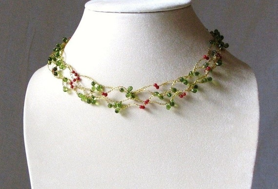 Red Holly Berry Vine Wrap Around Golden Floating Necklace - 72 inches - Made in USA - Etsy Holiday Sale