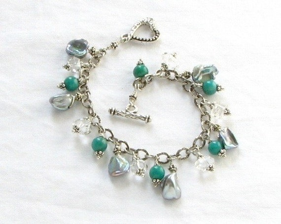 Ocean Dreams Sterling Silver Gem Bracelet - Green Amazonite , Crystal Quartz Gemstones and Gray Pearl - Heart Toggle - Handmade in the USA