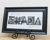 Wedding Gift , Couples Gift Newlywed Gift Alphabet Art Photos , Personalized Name Art , Anniversary , PREMIUM Black Frame , Photo Letter Art