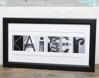 Anniversary Gift , Bridal Shower Gift , Christmas Gift , Personalized Name Photo , Alphabet Art Photography , 10x20 UNFRAMED