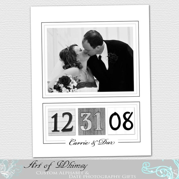 Anniversary Gift , Wedding Gift , Couples gift ,  Date Photos Frame your Wedding Date 11x14