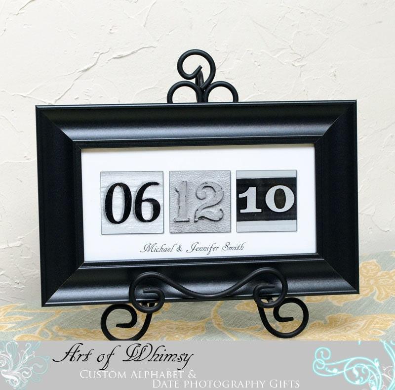 Wedding Date Gift Ideas: Wedding Gift Anniversary Date / Number Photos BLACK FRAMED