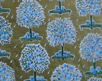 Vintage Shower Gift Wrap 1950s Wrapping Paper-KAYCREST 2 Sheet New in Package Blue and Gold for Wedding or Baby Shower Gifts
