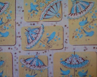 Vintage Gift Wrap 1950s Kaycrest Shower Wrapping Paper--Blue Birds and Umbrellas for Wedding or Baby Shower Gift