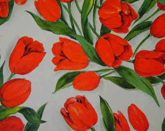 Vintage Gift Wrap 1950s Wrapping Paper 1 Sheet Bright Red Tulips Vintage Wrapping Paper