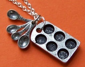 SALE - Baker Charm Necklace with Antiqued Cupcake Tin and Measuring Spoons