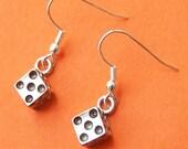 Miniature Dice Charm Dangle Earrings on Silver Hooks