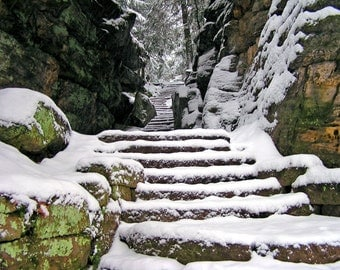 Snow Stairway 5x7 Nature Photograph Geology Rock Formation Ohio Cuyahoga Valley Paleozoic