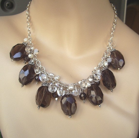 Brown Chunky Dangle Necklace Smokey Quartz Rock Crystal Cluster Dangle Statement Necklace Wire Wrapped Dangle Necklace