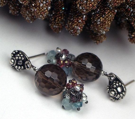 Smokey Quartz Earrings Sterling Silver Post Pink Blue Gemstone Cluster