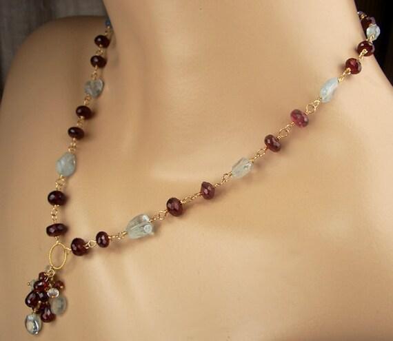 Garnet Necklace Aquamarine 14k Gold Fill Wire Wrap Rosary