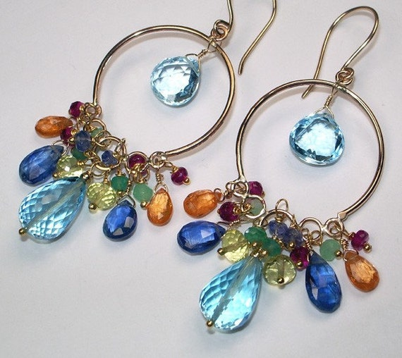 Gemstone Jewelry Gold Hoop Long Chandelier Earrings 14k Gold Filled Wire Wrapped Blue Topaz Multicolor Gemstone Handmade Long Luxury