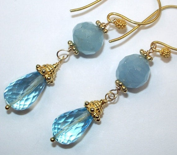 RESERVED for L - Blue Topaz Aquamarine Earrings Gold Wire Wrapped Gemstone Dangle - Layaway Pmt 1