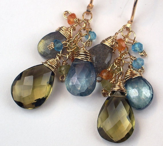 RESERVED for A  - Multicolor Gemstone Dangle Earrings on 14k Gold Fill, Wire Wrapped, Labradorite - Payment 1