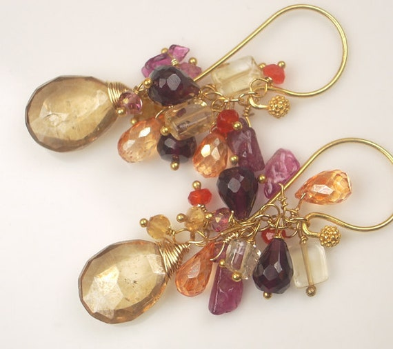 Multicolor Gemstone Cluster Earrings 14k Gold Fill Citrine Garnet Pink
