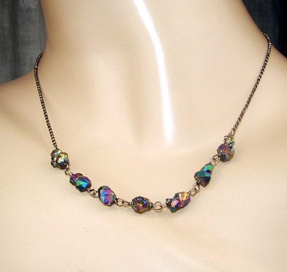 SALE 50 off - Druzy Necklace Choker Titanium Wire WrapOxidized Silver