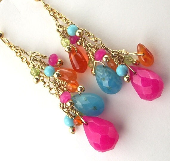 Turquoise Colorful Wire Wrapped Earrings 14k Gold Fill Chain Dangle Cluster Resort Spring Fashion Hot Colors - Vera