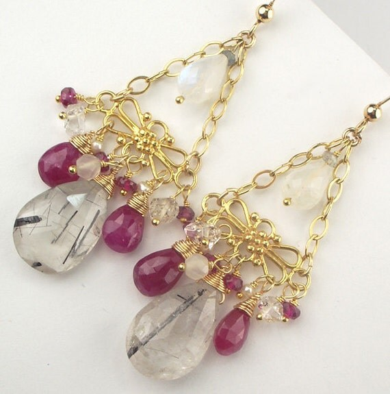 Red Diamond Chandelier Earrings: Red Ruby Chandelier Rutilated Quartz Wire By DoolittleJewelry