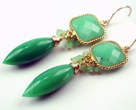 Chrysoprase Earrings Wire Wrapped Green Gemstone Handmade 14kt Gold Filled Earrings Luxury Fall Fashion