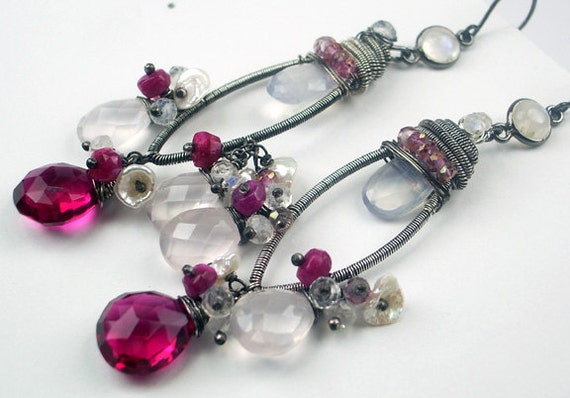 Ruby Chandelier Earrings - Long Wire Wrapped Coiled Silver