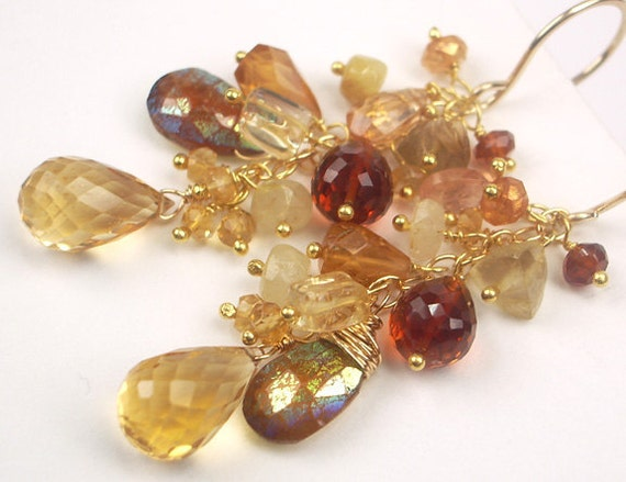 Citrine Long Dangle Earrings Gold Gemstones Wire Wrapped Imperial Topaz Luxury Fall Fashion November Birthstone