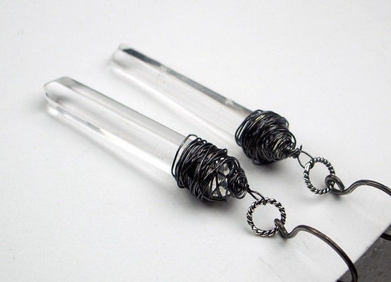 Rock Crystal Earrings Pointer Crystals Wire Wrapped Oxidized Silver Wire Dangle Earrings Black White Fashion