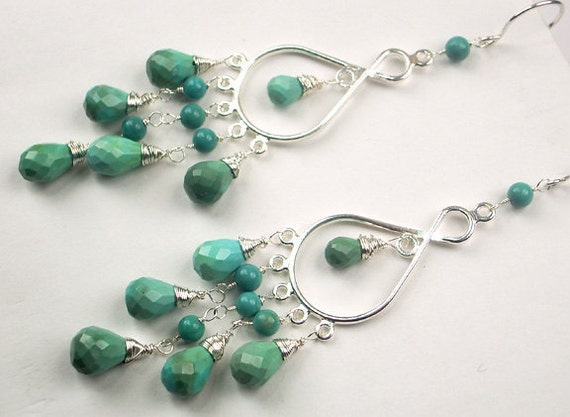 Turquoise Chandelier Earrings Sterling Silver Wire Wrapped Long Dangle Earrings Bohemian Summer Fashion