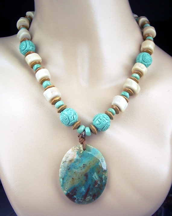 SALE - 20% off - Chrysocolla and Turquoise Statement Necklace Multicolor Bold Chunky Necklace