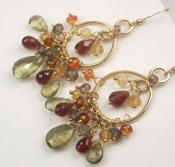 Moss Aquamarine Chandelier Gold Earrings Wire Wrapped 14kt Gold Filled Multicolor Gemstones Citrine Hessonite Smokey Quartz