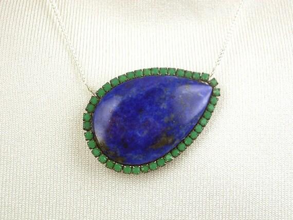 ON SALE 20% off - Large Blue Lapis Lazuli Necklace Chrysoprase Swarovski Bezel Set  Sterling Silver Necklace Oxidized Silver Luxury Fashion