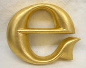 Gold leaf wood letter-small E-one of a kind-OOAK