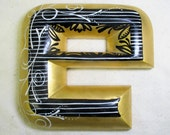 Gold leaf and hand painted wood letter E-OOAK