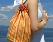 Bucket tote  bag with drawstring closure - Pink, orange, yellow stripe