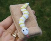 Snake in snuggle bag felt plush - white and yellow