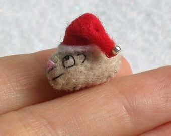 Guinea pig Christmas elf - tiny felt hand stitched plush toy