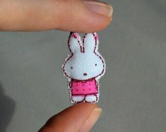 Rabbit miniature stuffed plush in pink polka dot dress - hand stitched