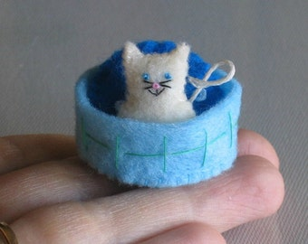 White cat miniature felt plush with stiffened felt basket and pillow play set