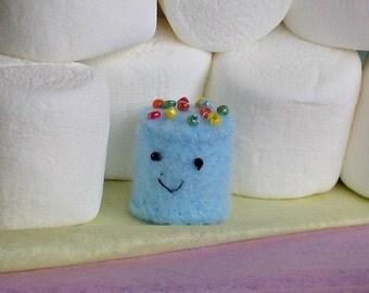 Mini  marshmallow tiny micro plush with sprinkles - blue